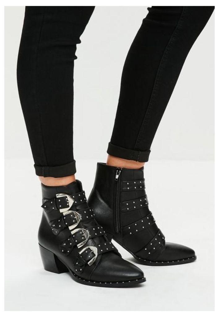 Black Four Buckle Ankle Boots, Black