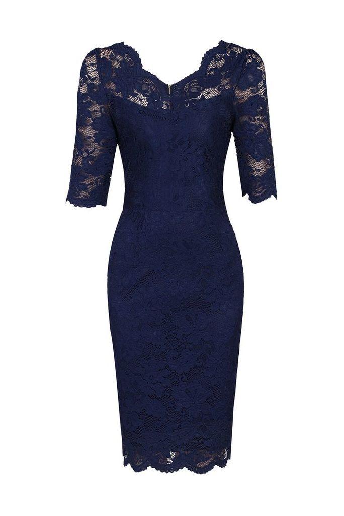 Jolie Moi Scalloped V Neck Lace Dress, Blue