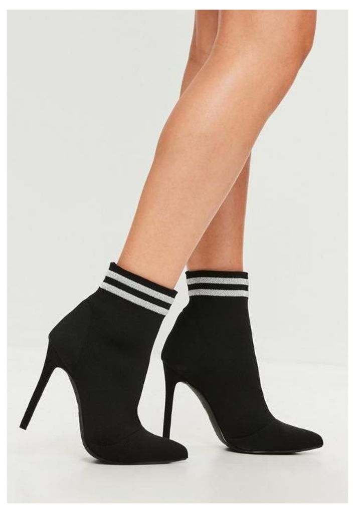 Carli Bybel x Missguided Black Pointed Striped Boots, Black