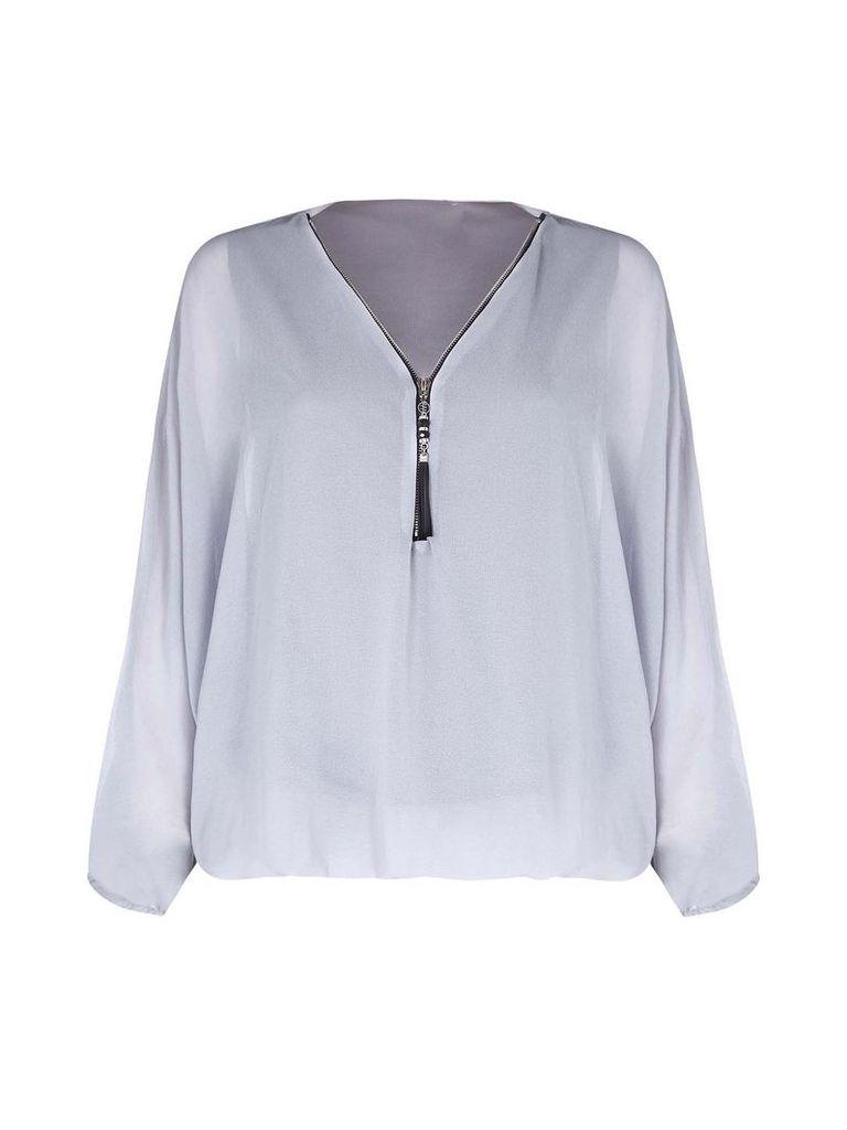 Mela London Batwing Zip Blouse, Grey