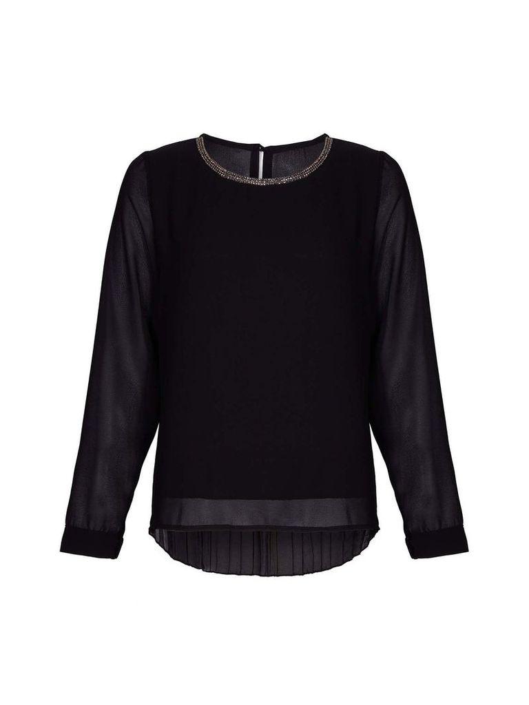 Mela London Pleated Black Detailed Blouse, Black