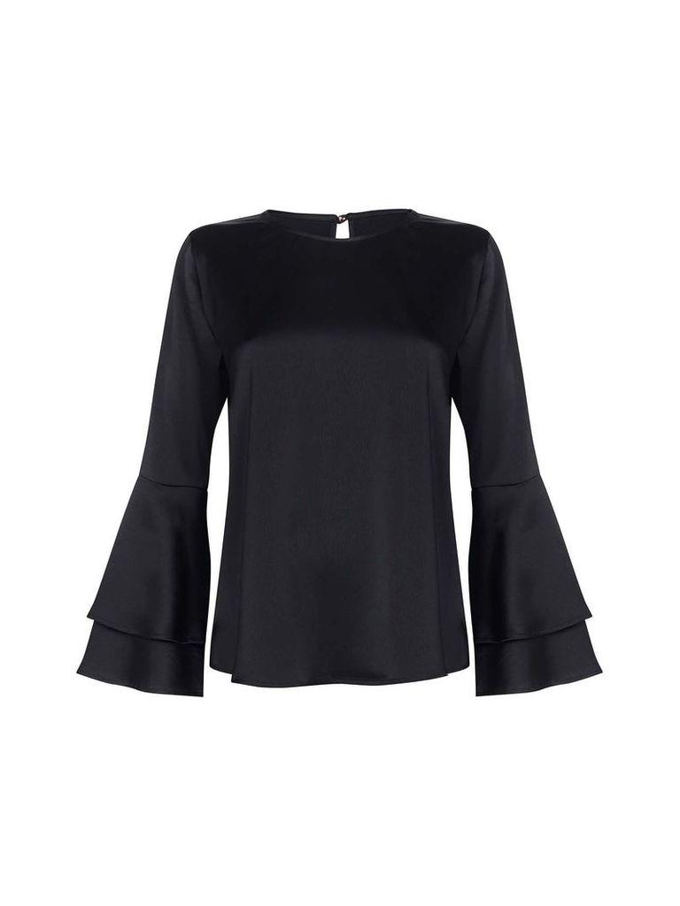 Mela London Ruffle Satin Stretch Blouse, Black