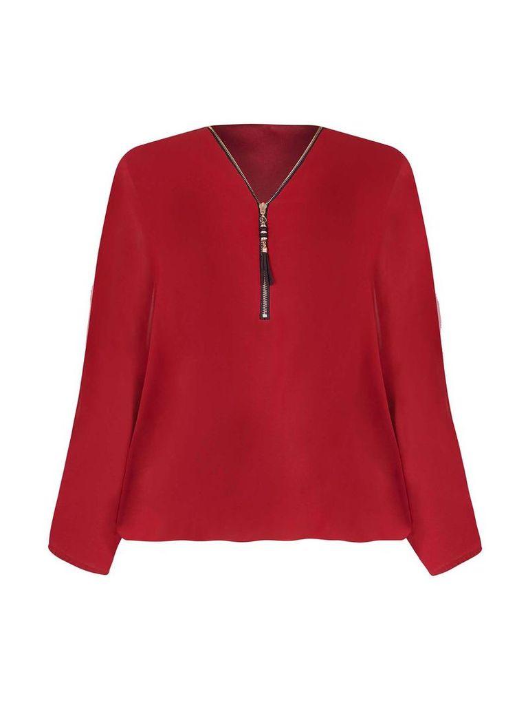 Mela London Batwing Zip Blouse, Red
