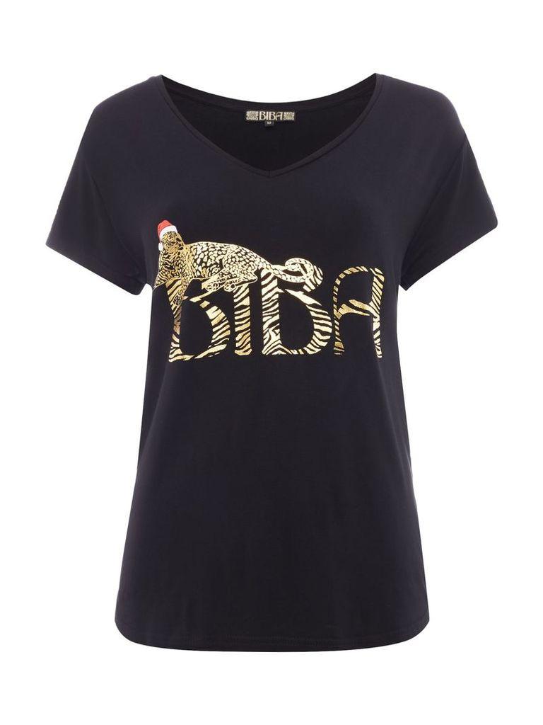 Biba Draped leopard christmas hat t-shirt, Black