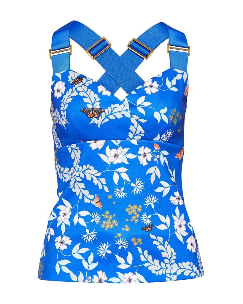 Ted Baker Aferah Kyoto Gardens Cross-Over Top, Bright Blue