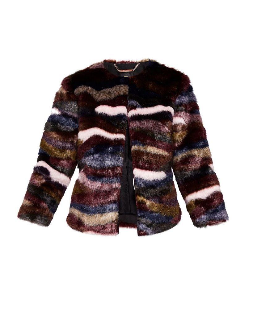 Ted Baker Robarla Multi-Coloured Faux Fur Jacket, Maroon