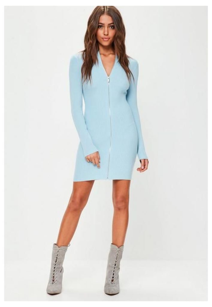 Blue Zip Through Knitted Mini Dress, Blue