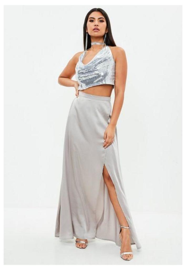 Grey Wrap Maxi Skirt, Grey
