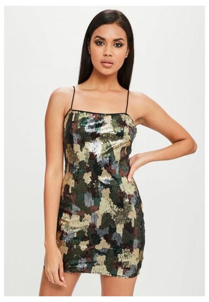 Carli Bybel x Missguided Green Camo Sequin Dress, Black