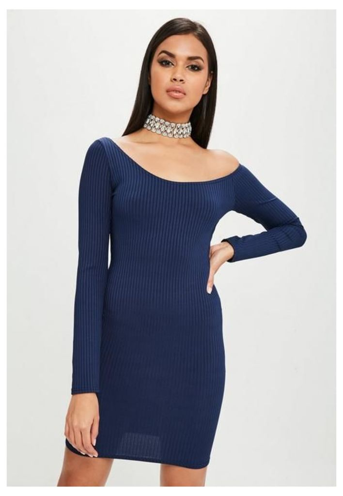 Carli Bybel x Missguided Navy Long Sleeve Ribbed Dress, Blue