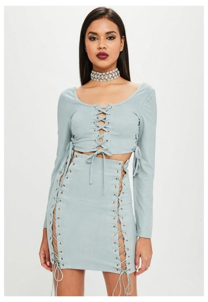 Carli Bybel x Missguided Green Lace Up Mini Skirt, Blue