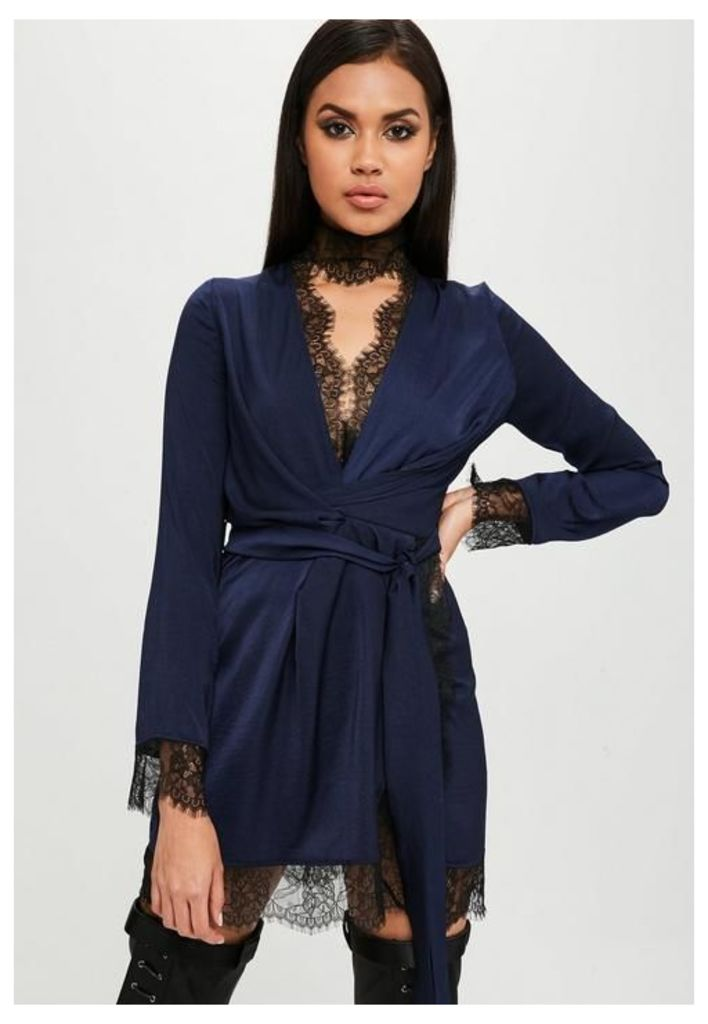 Carli Bybel x Missguided Navy Satin Lace Wrap Dress, Blue