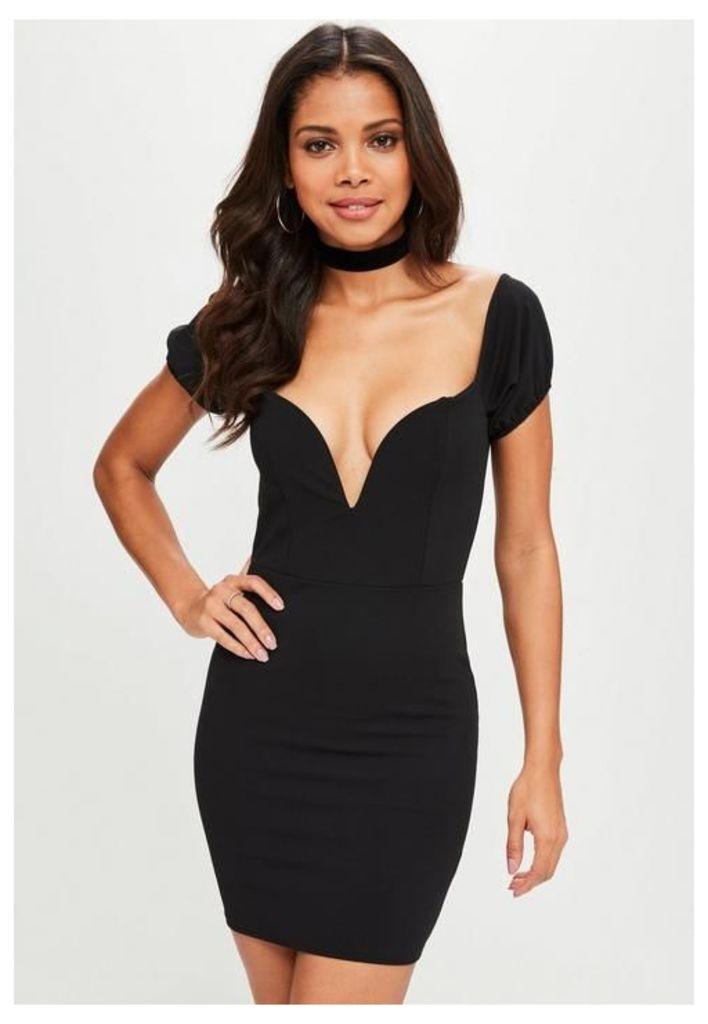 Black Puff Sleeve Plunge Mini Dress, Black