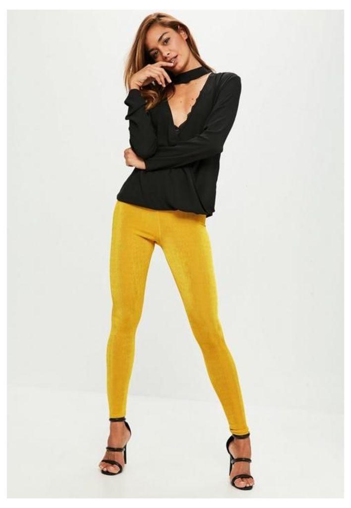Yellow Slinky Leggings, Yellow