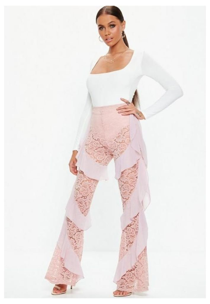 Carli Bybel x Missguided Pink Lace Ruffle Trousers, Purple