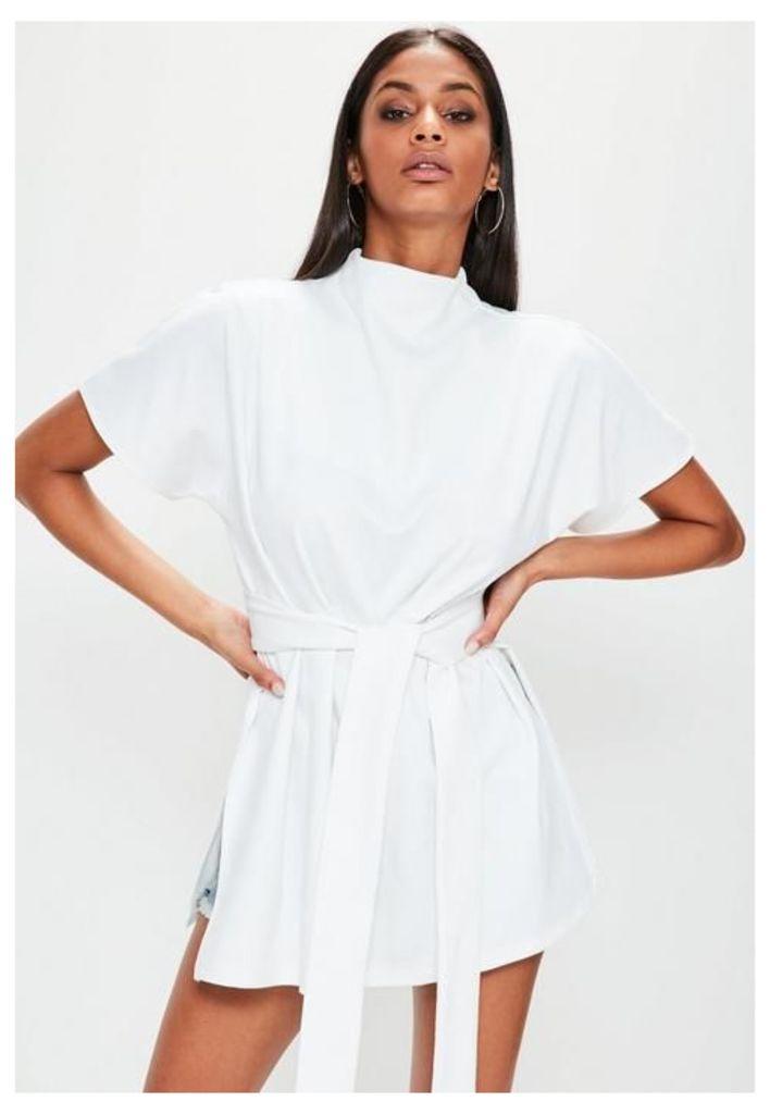 White Tie Waist Side Split Tunic Top, White