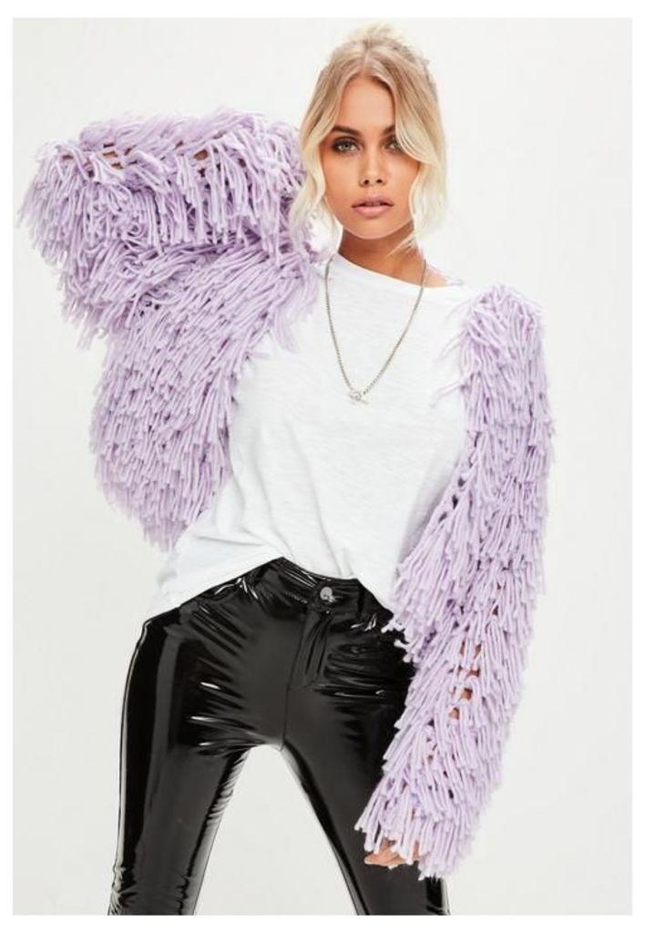 Lilac Shaggy Crop Cardigan, Purple
