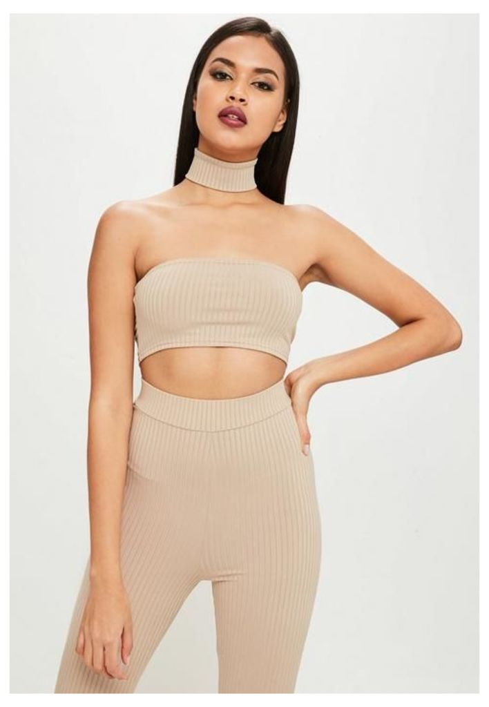 Carli Bybel x Missguided Nude Ribbed Bandeau Top, Grey
