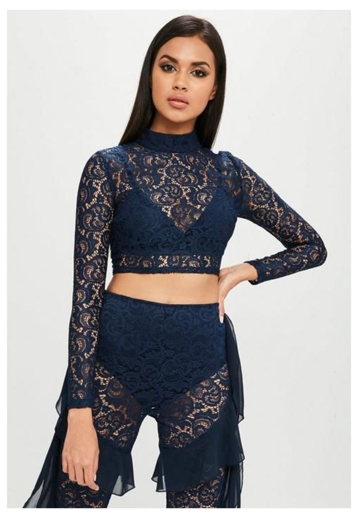 Carli Bybel x Missguided Navy High Neck Lace Top, Blue