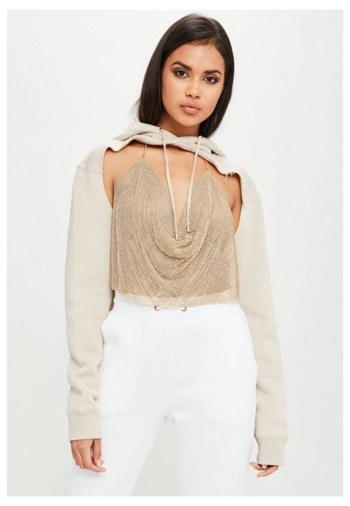 Carli Bybel x Missguided Cream Extreme Cut Out Jumper, Grey