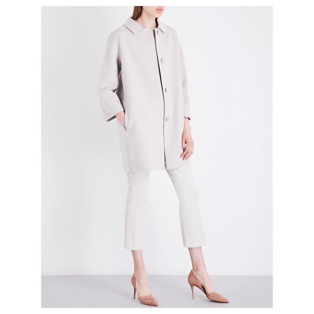S Max Mara Ladies Pearlight Grey Snack Wool Coat, Size: 16
