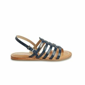 Heripo Leather Flat Sandals with Sling-Back