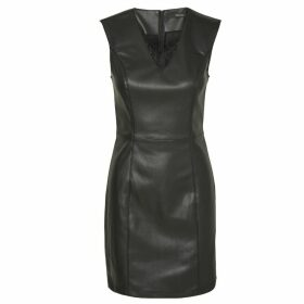 Faux Leather Bodycon Dress with Lace Detail