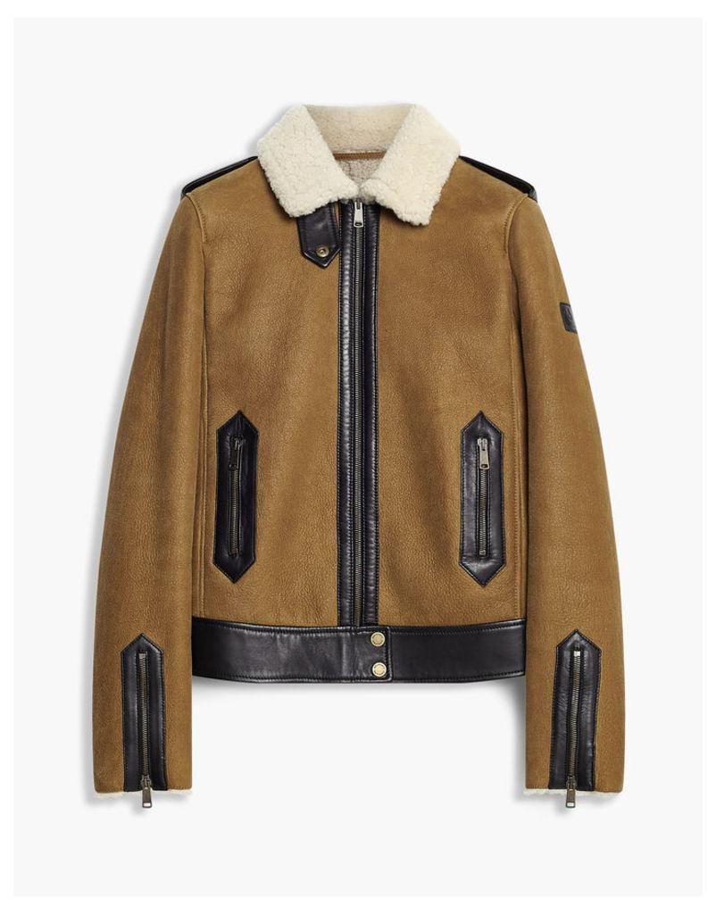 Belstaff Danford Shearling Jacket burnished gold black natural