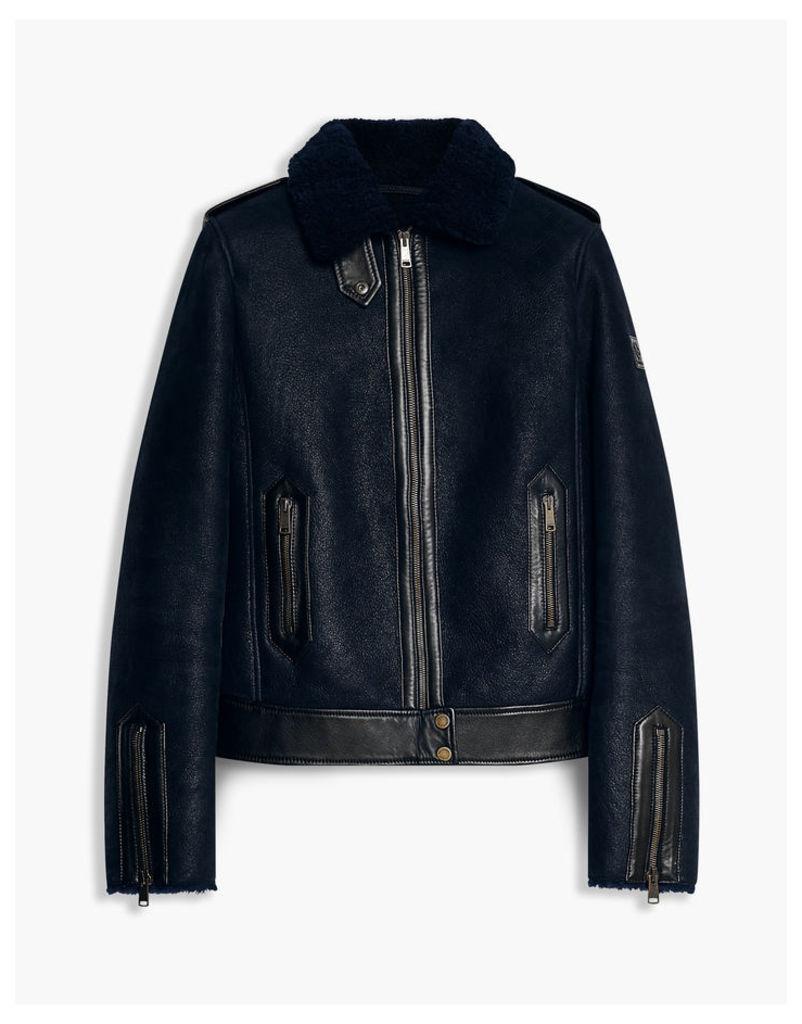 Belstaff Danford Shearling Jacket true navy black
