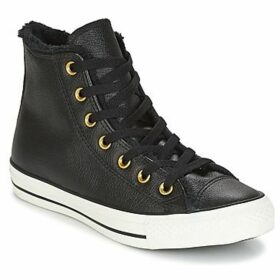 Converse  CHUCK TAYLOR ALL STAR LEATHER + FUR HI BLACK/BLACK/EGRET  women's Shoes (High-top Trainers) in Black