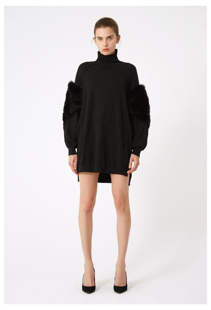 Emily High Neck Jumper Dress - Black
