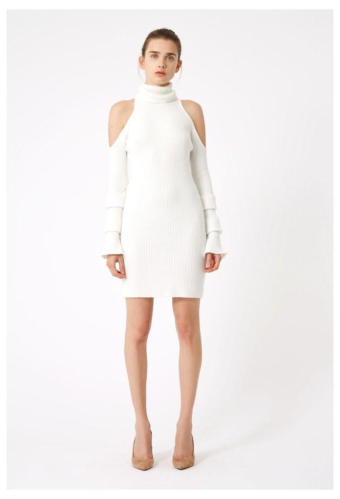 Chaya Cold Shoulder Jumper Dress - White