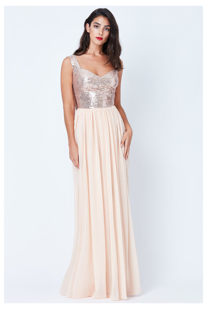 Cowl Back Sequin and Chiffon Maxi Dress - Champagne