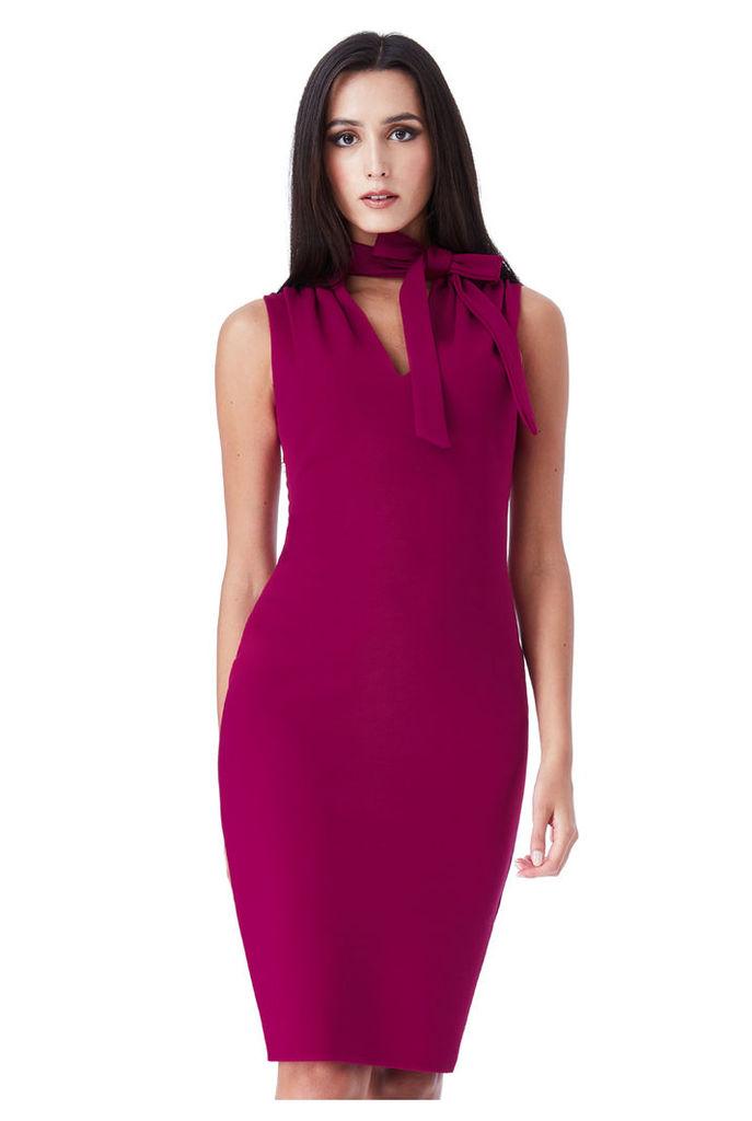 Tie Collar V Neck Midi Dress - Berry