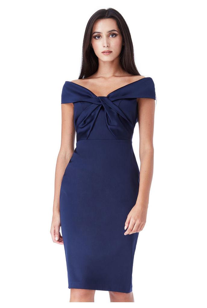 Bardot Midi Dress with Twisted Neckline - Navy