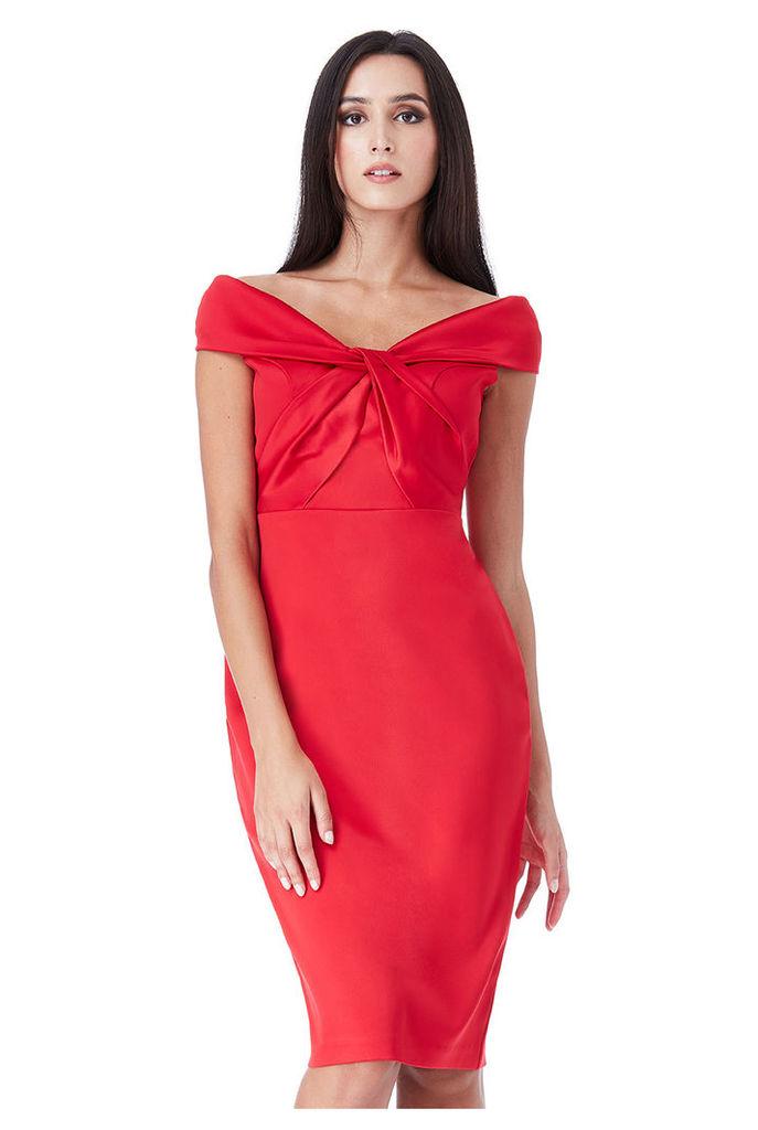 Bardot Midi Dress with Twisted Neckline - Red