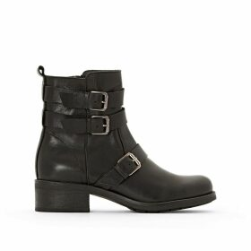 Leather Biker Heeled Boots with Triple Leather Strap