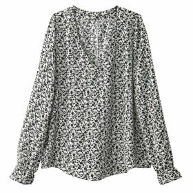 Floral Print Blouse with Ruffled Cuffs