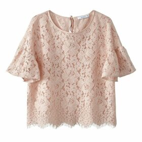 Cropped Ruffled Sleeve Lace Blouse