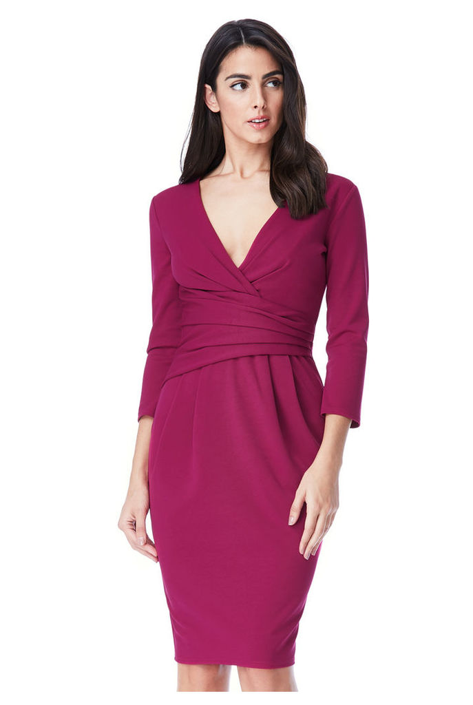 Fitted Pleated Midi Dress - Berry