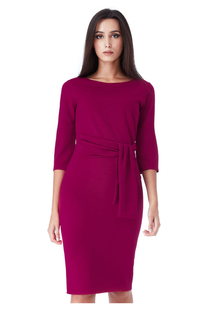 Pencil Dress with a Tie Detail - Berry