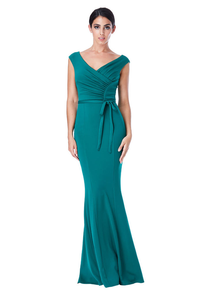 Pleated Maxi Dress with Tie Detail - Emerald
