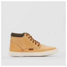 Leather Collar High Top Trainers