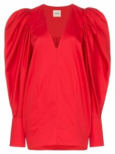 Khaite Conie oversized puff-sleeve blouse - Red