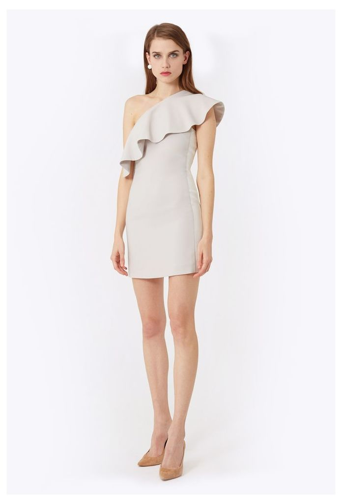 Andes One Shoulder Mini Dress - Stone / White