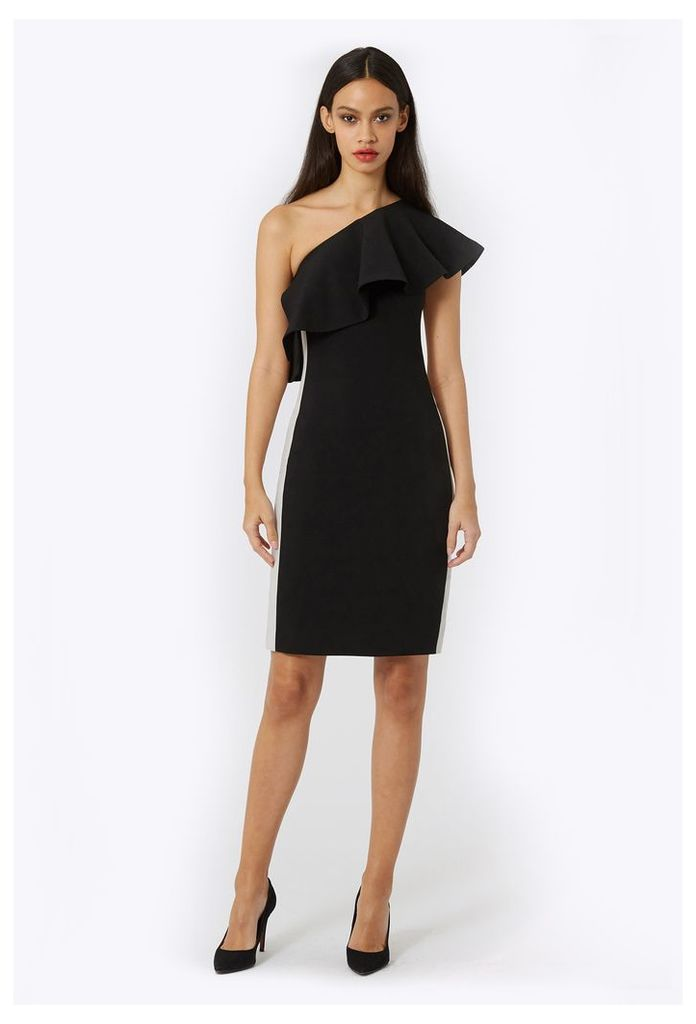 Andes One Shoulder Midi Dress - Black / Stone