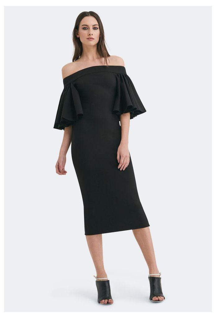 Rising Off Shoulder Midi Dress - Black