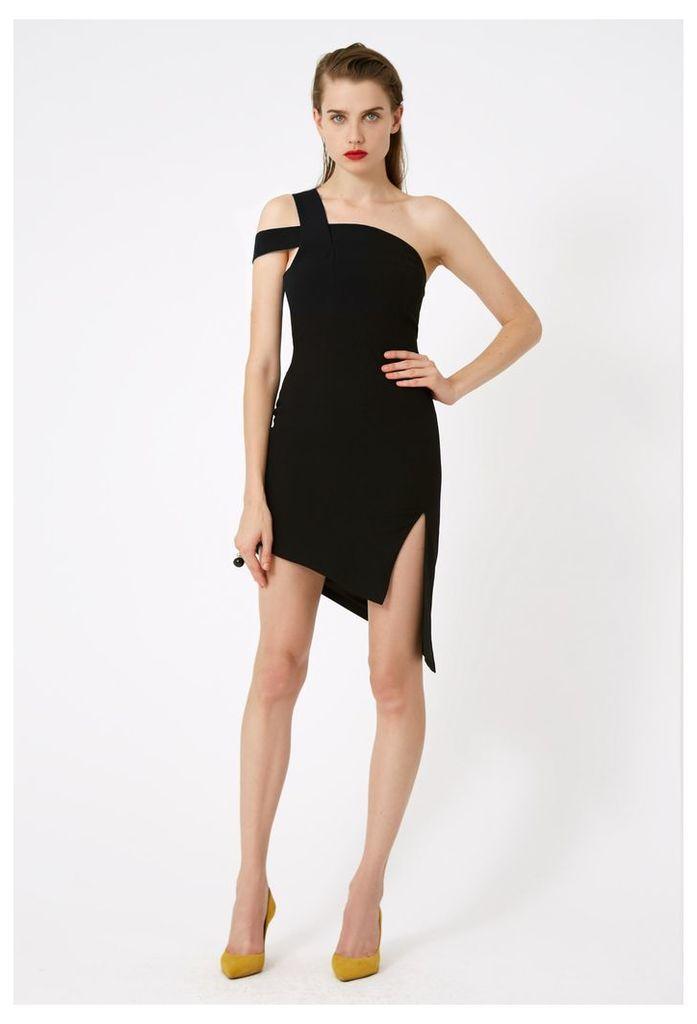 Candice One Shoulder Mini Dress - Black