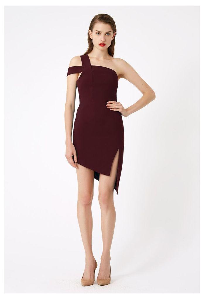 Candice One Shoulder Mini Dress - Plum