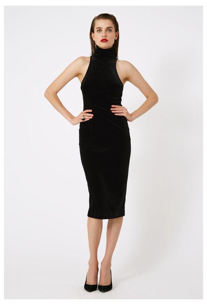 Hale Velvet Midi Dress - Black
